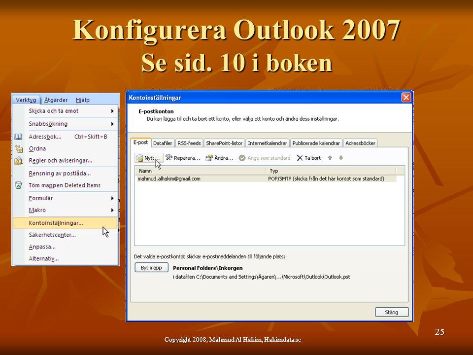 Konfigurera Outlook 2007 Se sid. 10 i boken Copyright 2008, Mahmud Al Hakim, Hakimdata.se 25
