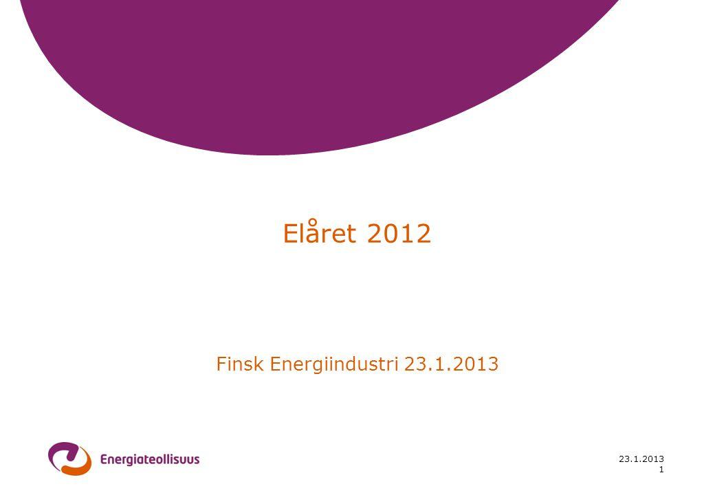 23.1.2013 1 Elåret 2012 Finsk Energiindustri 23.1.2013