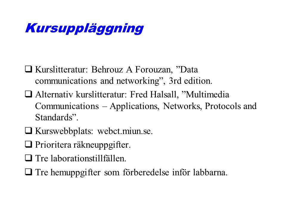 Kursuppläggning qKurslitteratur: Behrouz A Forouzan, Data communications and networking , 3rd edition.