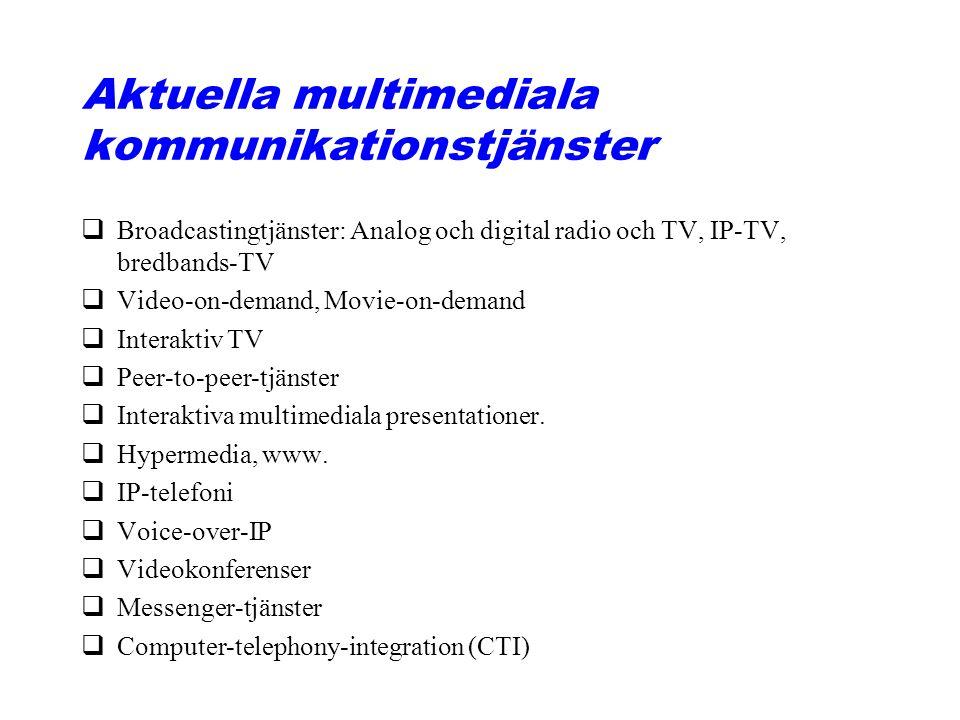 Aktuella multimediala kommunikationstjänster qBroadcastingtjänster: Analog och digital radio och TV, IP-TV, bredbands-TV qVideo-on-demand, Movie-on-demand qInteraktiv TV qPeer-to-peer-tjänster qInteraktiva multimediala presentationer.