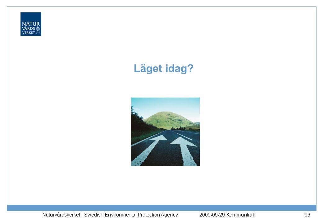 Naturvårdsverket | Swedish Environmental Protection Agency 96 Läget idag? 2009-09-29 Kommunträff