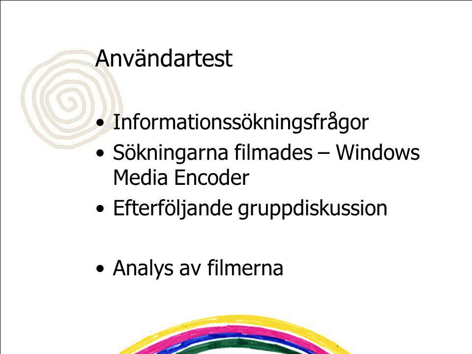 Användartest Informationssökningsfrågor Sökningarna filmades – Windows Media Encoder Efterföljande gruppdiskussion Analys av filmerna