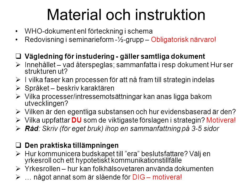 Material och instruktion WHO-dokument enl förteckning i schema Redovisning i seminarieform -½-grupp – Obligatorisk närvaro.