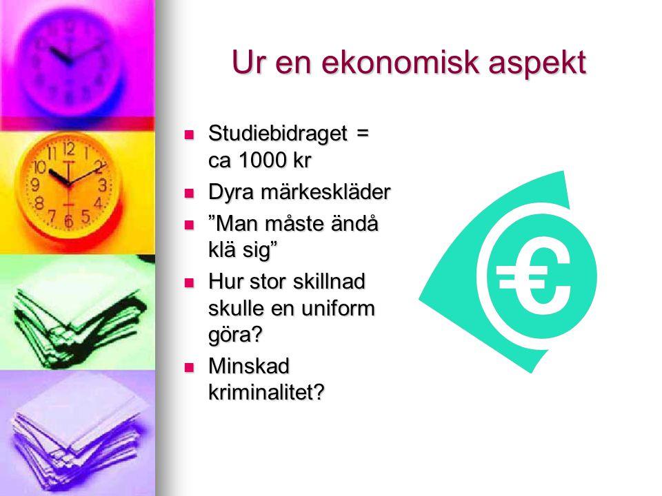 """Ur en ekonomisk aspekt Studiebidraget = ca 1000 kr Studiebidraget = ca 1000 kr Dyra märkeskläder Dyra märkeskläder """"Man måste ändå klä sig"""" """"Man måste"""