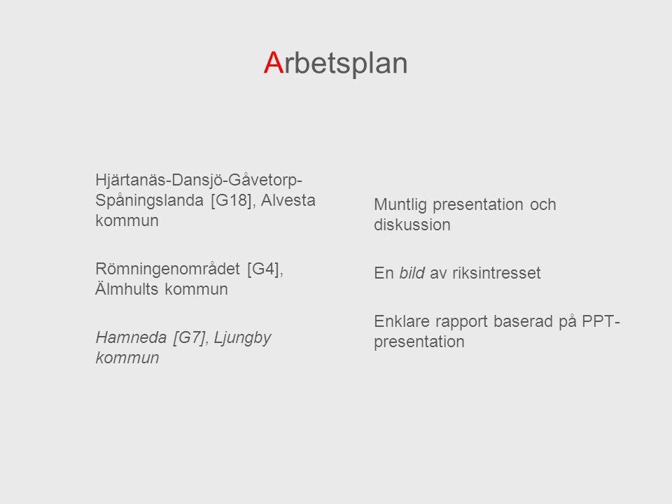 Arbetsplan Hjärtanäs-Dansjö-Gåvetorp- Spåningslanda [G18], Alvesta kommun Römningenområdet [G4], Älmhults kommun Hamneda [G7], Ljungby kommun Muntlig
