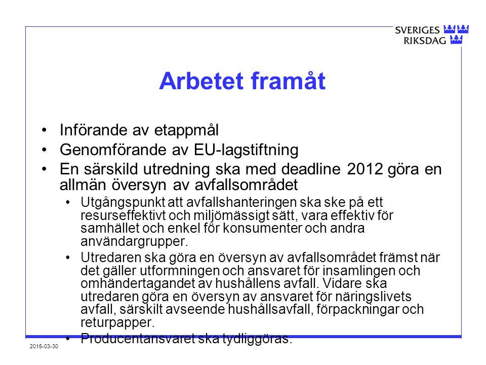2015-03-30 Arbetet framåt Införande av etappmål Genomförande av EU-lagstiftning En särskild utredning ska med deadline 2012 göra en allmän översyn av