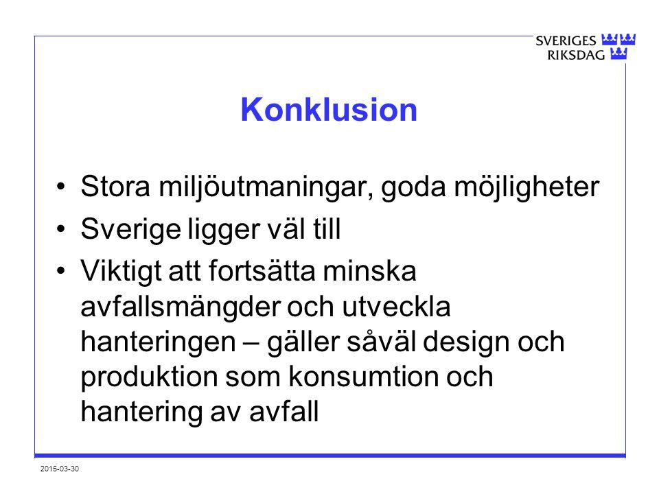 2015-03-30 Konklusion Stora miljöutmaningar, goda möjligheter Sverige ligger väl till Viktigt att fortsätta minska avfallsmängder och utveckla hanteri