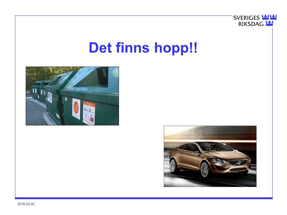 2015-03-30 Konklusion Stora miljöutmaningar, goda möjligheter Sverige ligger väl till Viktigt att fortsätta minska avfallsmängder och utveckla hanteringen – gäller såväl design och produktion som konsumtion och hantering av avfall