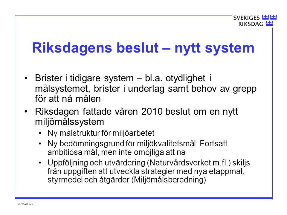 2015-03-30 Riksdagens beslut – nytt system Brister i tidigare system – bl.a. otydlighet i målsystemet, brister i underlag samt behov av grepp för att