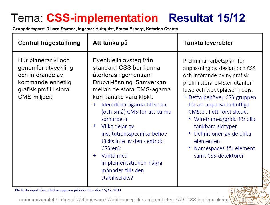 Lunds universitet / Förnyad Webbnärvaro / Webbkoncept för verksamheten / AP: CSS-implementering Tema: CSS-implementation Resultat 15/12 Central frågeställningAtt tänka påTänkta leverabler Hur planerar vi och genomför utveckling och införande av kommande enhetlig grafisk profil i stora CMS-miljöer.