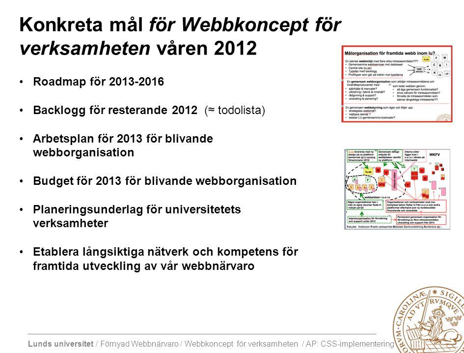 Lunds universitet / Förnyad Webbnärvaro / Webbkoncept för verksamheten / AP: CSS-implementering Tema: CSS-implementation Resultat 16/1 Central frågeställningAtt tänka påTänkta leverabler Hur planerar vi och genomför utveckling och införande av kommande enhetlig grafisk profil i stora CMS-miljöer.