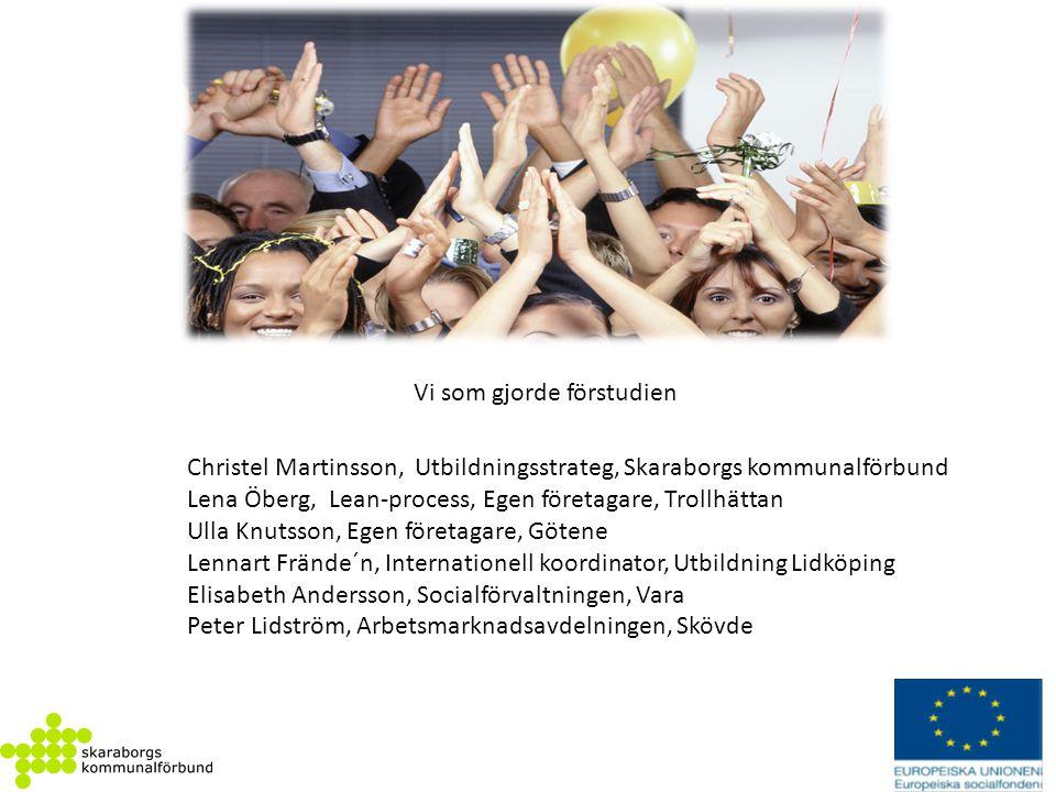 Vi som gjorde förstudien Christel Martinsson, Utbildningsstrateg, Skaraborgs kommunalförbund Lena Öberg, Lean-process, Egen företagare, Trollhättan Ul