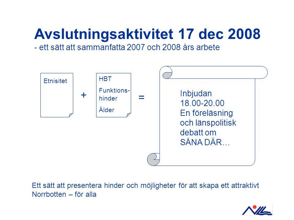 Avslutningsaktivitet 17 dec 2008 - ett sätt att sammanfatta 2007 och 2008 års arbete Etnisitet HBT Funktions- hinder Ålder = Inbjudan 18.00-20.00 En föreläsning och länspolitisk debatt om SÅNA DÄR… + Ett sätt att presentera hinder och möjligheter för att skapa ett attraktivt Norrbotten – för alla