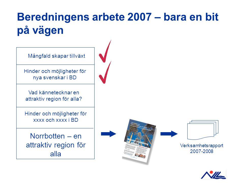 Beredningens arbete 2007 – bara en bit på vägen Mångfald skapar tillväxt Hinder och möjligheter för nya svenskar i BD Hinder och möjligheter för xxxx och xxxx i BD Norrbotten – en attraktiv region för alla Verksamhetsrapport 2007-2008 Vad kännetecknar en attraktiv region för alla?