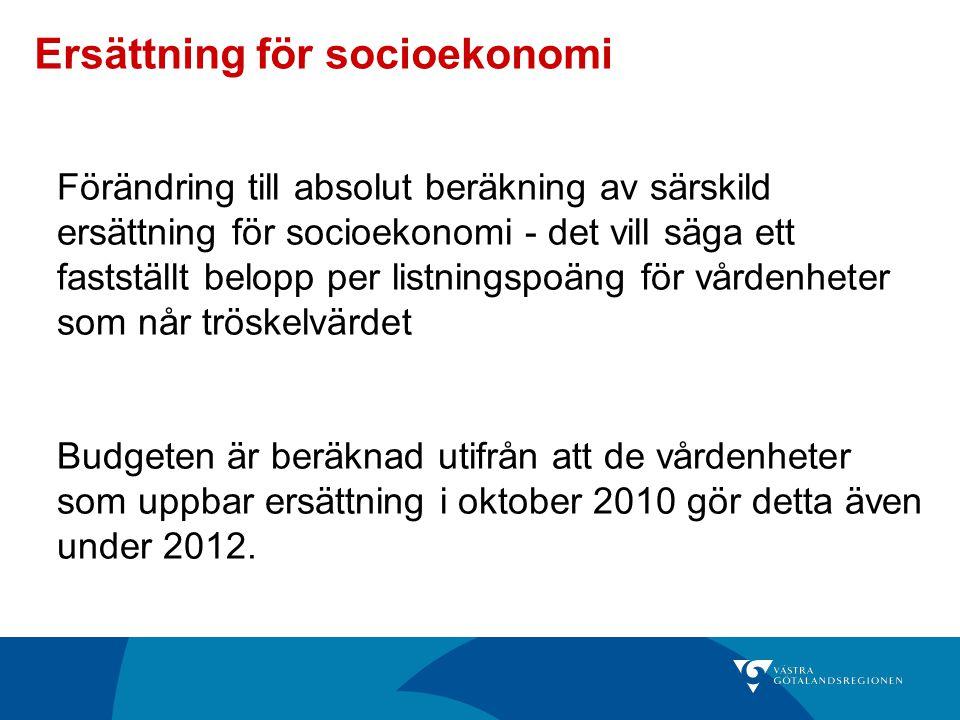 Ersättning för socioekonomi Förändring till absolut beräkning av särskild ersättning för socioekonomi - det vill säga ett fastställt belopp per listni