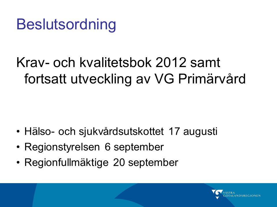 Beslutsordning Krav- och kvalitetsbok 2012 samt fortsatt utveckling av VG Primärvård Hälso- och sjukvårdsutskottet 17 augusti Regionstyrelsen 6 septem