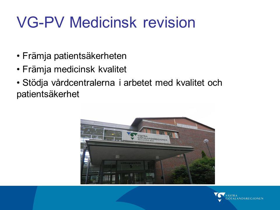 VG-PV Medicinsk revision Främja patientsäkerheten Främja medicinsk kvalitet Stödja vårdcentralerna i arbetet med kvalitet och patientsäkerhet