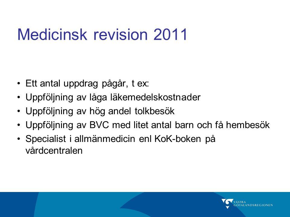 Medicinsk revision 2011 Ett antal uppdrag pågår, t ex: Uppföljning av låga läkemedelskostnader Uppföljning av hög andel tolkbesök Uppföljning av BVC m