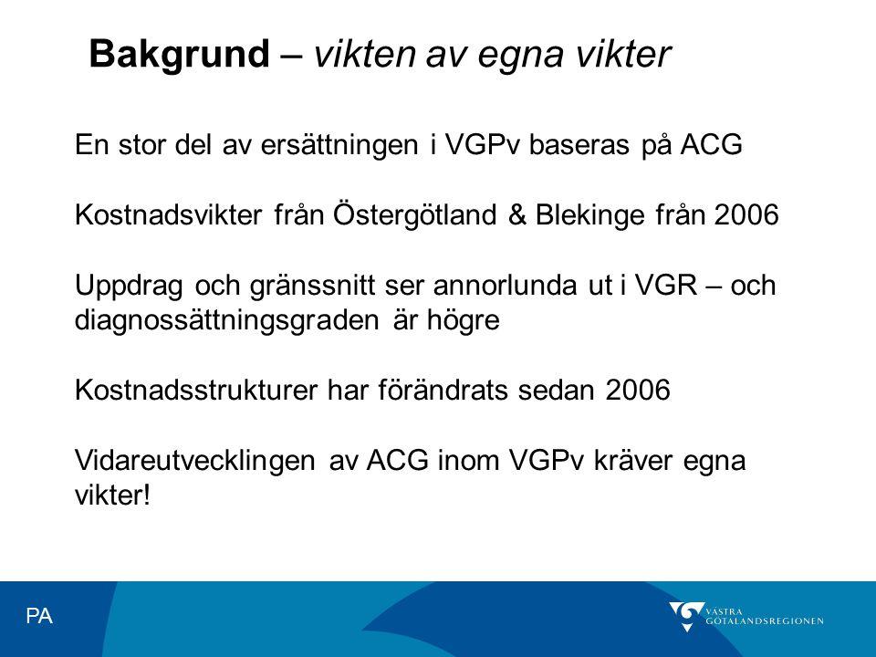 PA Bakgrund – vikten av egna vikter En stor del av ersättningen i VGPv baseras på ACG Kostnadsvikter från Östergötland & Blekinge från 2006 Uppdrag oc