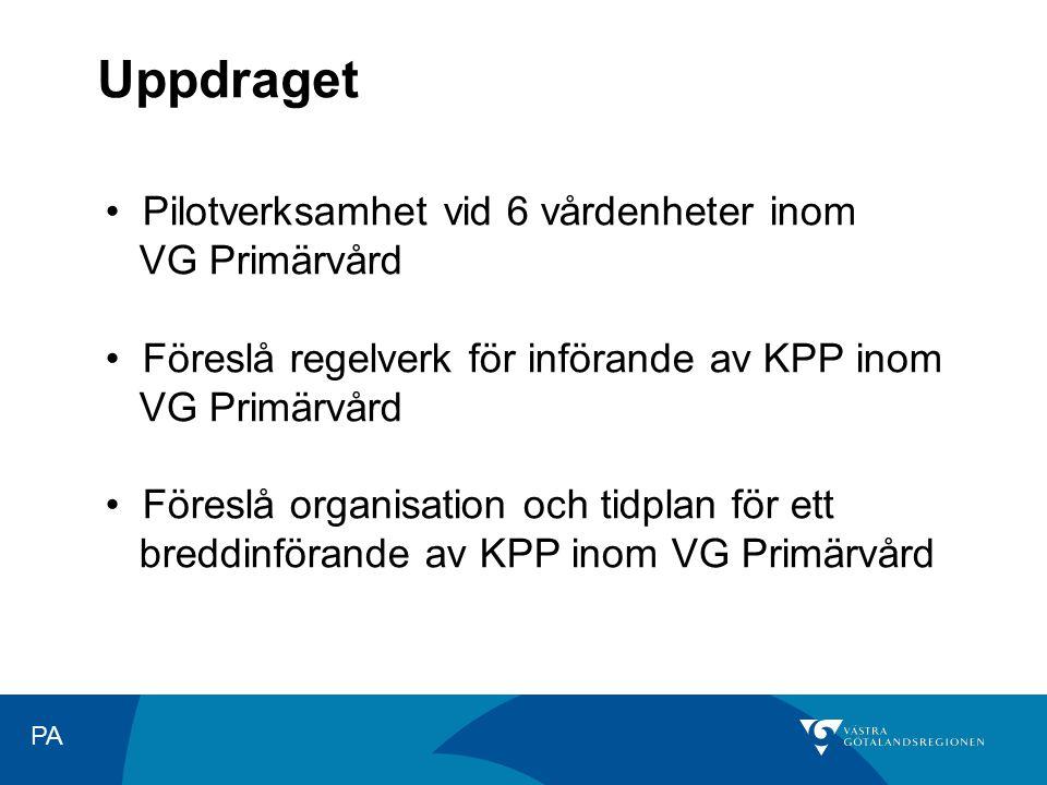PA Uppdraget Pilotverksamhet vid 6 vårdenheter inom VG Primärvård Föreslå regelverk för införande av KPP inom VG Primärvård Föreslå organisation och t