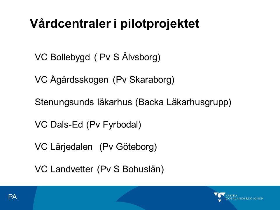 PA VC Bollebygd ( Pv S Älvsborg) VC Ågårdsskogen (Pv Skaraborg) Stenungsunds läkarhus (Backa Läkarhusgrupp) VC Dals-Ed (Pv Fyrbodal) VC Lärjedalen (Pv