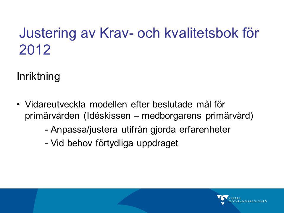 Justering av Krav- och kvalitetsbok för 2012 Inriktning Vidareutveckla modellen efter beslutade mål för primärvården (Idéskissen – medborgarens primär