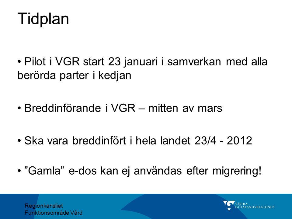 Regionkansliet Funktionsområde Vård Pilot i VGR start 23 januari i samverkan med alla berörda parter i kedjan Breddinförande i VGR – mitten av mars Sk