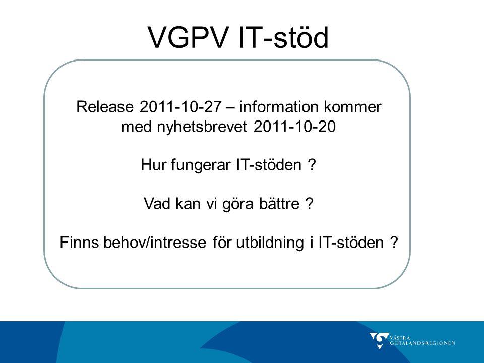 VGPV IT-stöd IT VårdvalIT Ersättning Upload/VipIT Stat Release 2011-10-27 – information kommer med nyhetsbrevet 2011-10-20 Hur fungerar IT-stöden ? Va