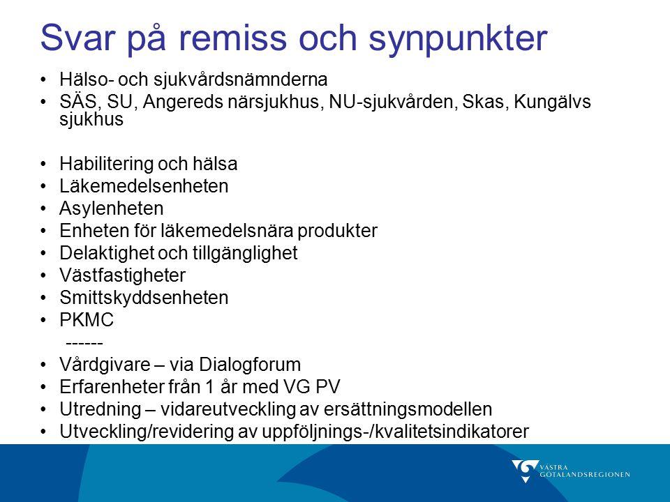 PA VC Bollebygd ( Pv S Älvsborg) VC Ågårdsskogen (Pv Skaraborg) Stenungsunds läkarhus (Backa Läkarhusgrupp) VC Dals-Ed (Pv Fyrbodal) VC Lärjedalen (Pv Göteborg) VC Landvetter (Pv S Bohuslän) Vårdcentraler i pilotprojektet