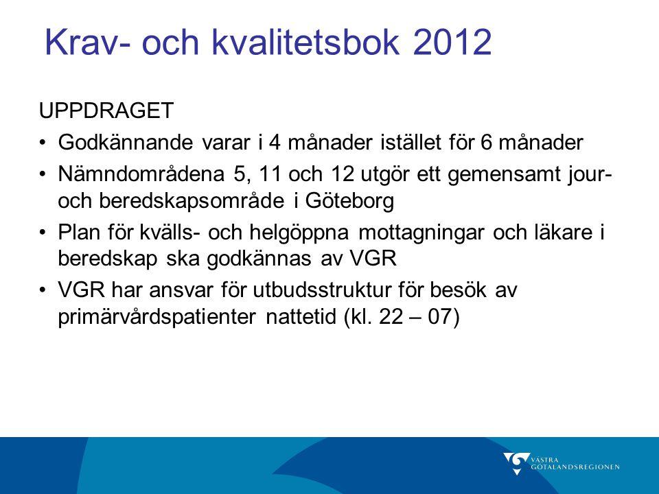 Krav- och kvalitetsbok 2012 UPPDRAGET Godkännande varar i 4 månader istället för 6 månader Nämndområdena 5, 11 och 12 utgör ett gemensamt jour- och be