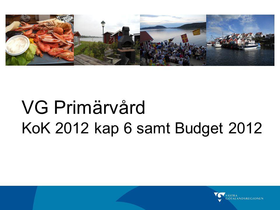 Beräkning av budgetbelopp 2012 Budget VG Pv 20115 160 mnkr Uppräkning 2012 (2,27 %) 117 mnkr - utgångspunkt prognos SKL 18 augusti 2011 Effektiviseringskrav (-0,7 %)- 36 mnkr Kompensation befolkningsökning 46 mnkr Justeringar KoK 2012- 20 mnkr Budget VG Pv 20125 267 mnkr