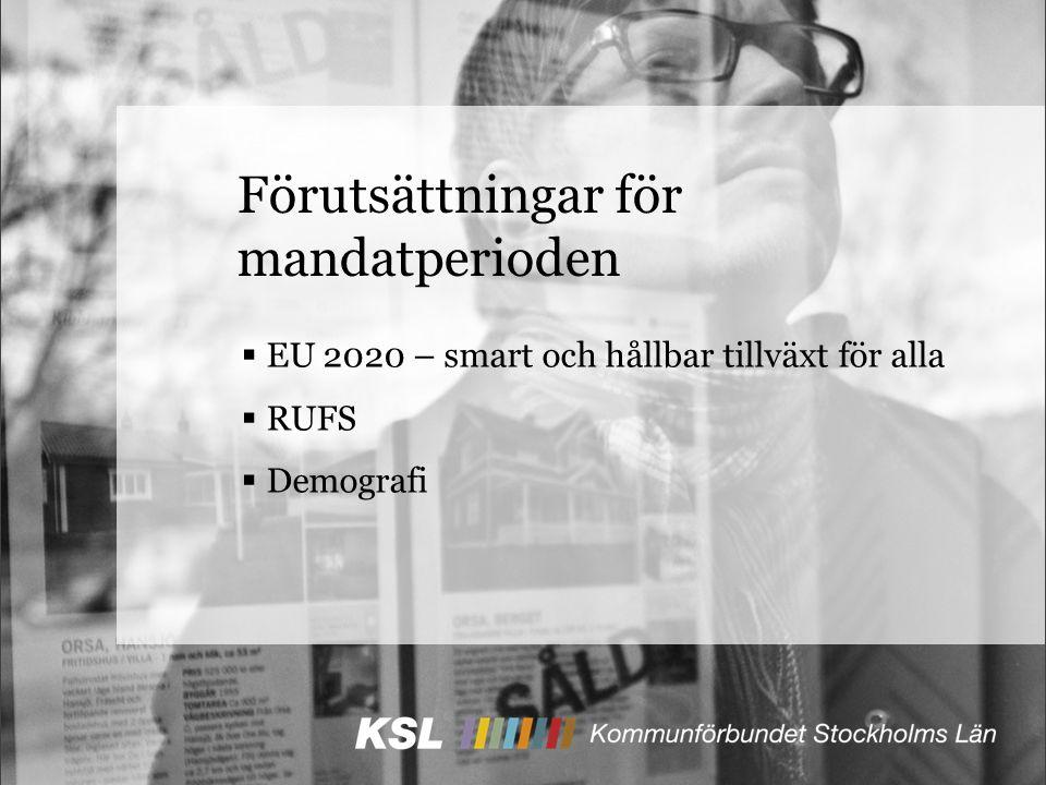Förutsättningar för mandatperioden  EU 2020 – smart och hållbar tillväxt för alla  RUFS  Demografi