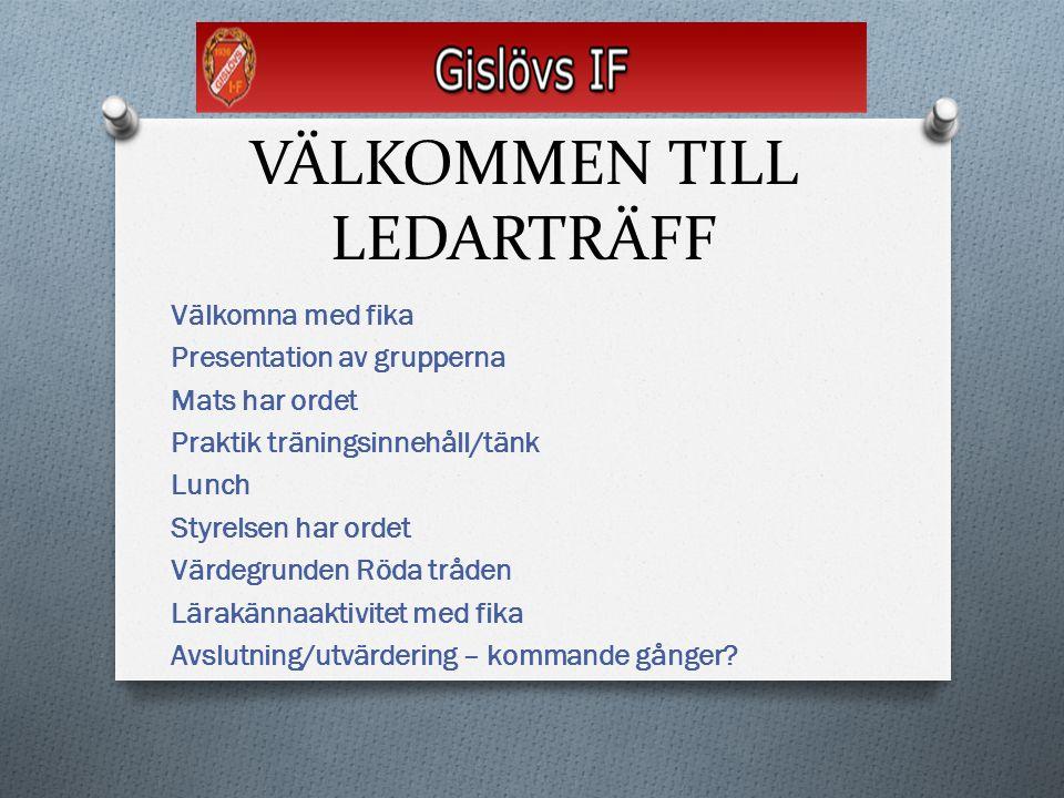 VÄLKOMMEN TILL LEDARTRÄFF Välkomna med fika Presentation av grupperna Mats har ordet Praktik träningsinnehåll/tänk Lunch Styrelsen har ordet Värdegrun