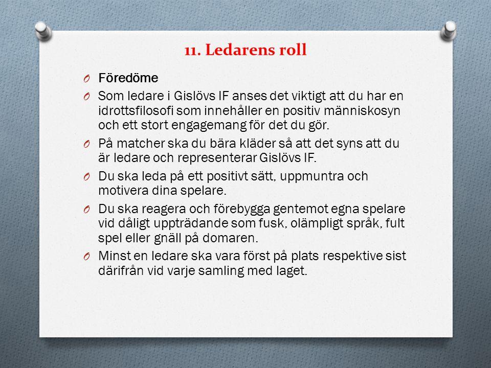 11. Ledarens roll O Föredöme O Som ledare i Gislövs IF anses det viktigt att du har en idrottsfilosofi som innehåller en positiv människosyn och ett s