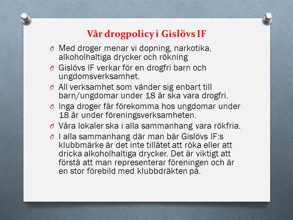 Vår drogpolicy i Gislövs IF O Med droger menar vi dopning, narkotika, alkoholhaltiga drycker och rökning O Gislövs IF verkar för en drogfri barn och u