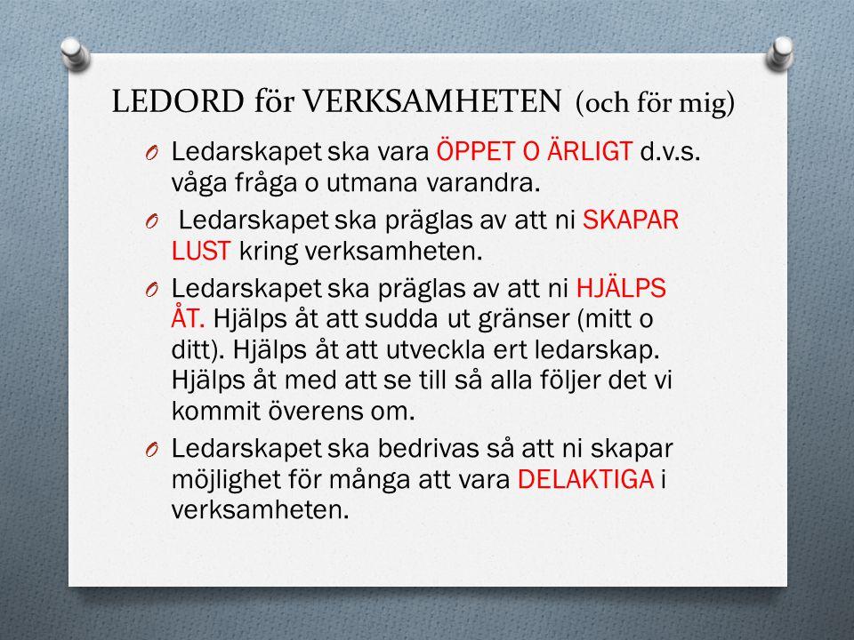 12.Ledarens behov O En introduktion kring historik och Gislövs policydokument ges varje ledare.