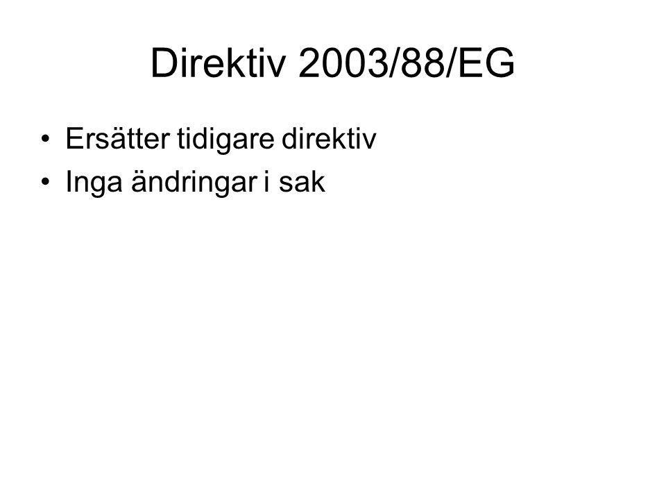 Direktiv 2003/88/EG Ersätter tidigare direktiv Inga ändringar i sak