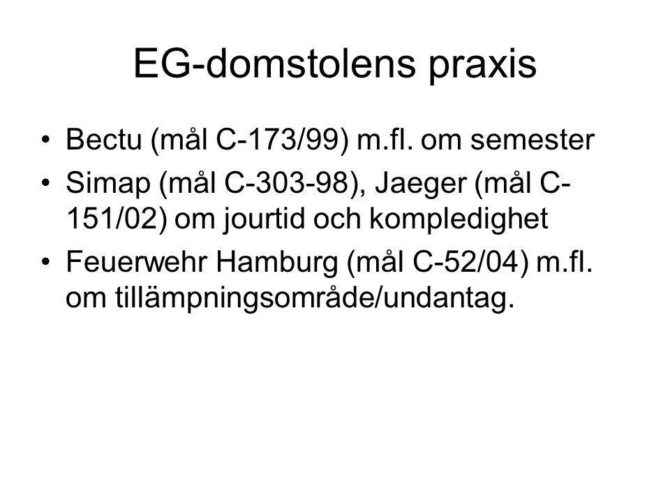 EG-domstolens praxis Bectu (mål C-173/99) m.fl. om semester Simap (mål C-303-98), Jaeger (mål C- 151/02) om jourtid och kompledighet Feuerwehr Hamburg