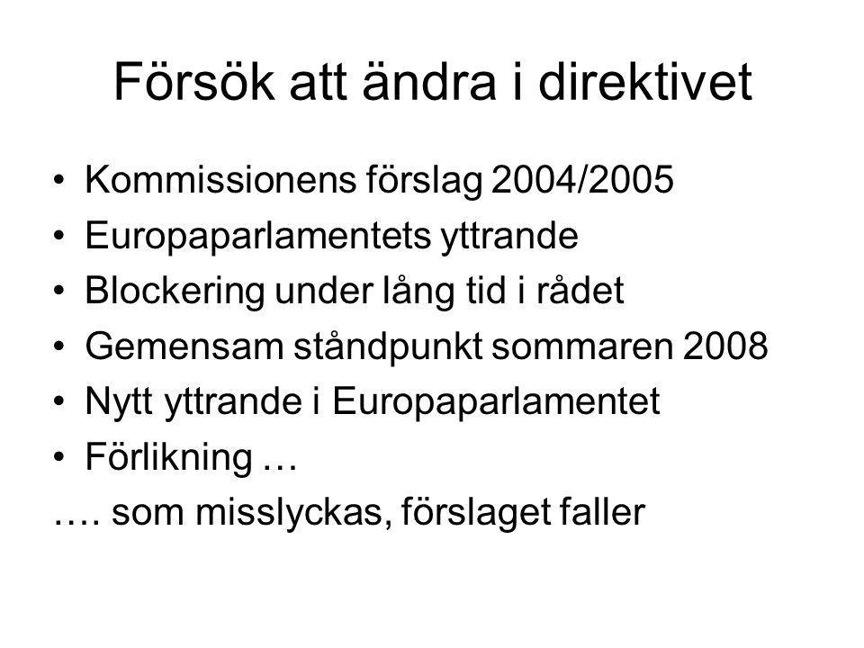 Försök att ändra i direktivet Kommissionens förslag 2004/2005 Europaparlamentets yttrande Blockering under lång tid i rådet Gemensam ståndpunkt sommar