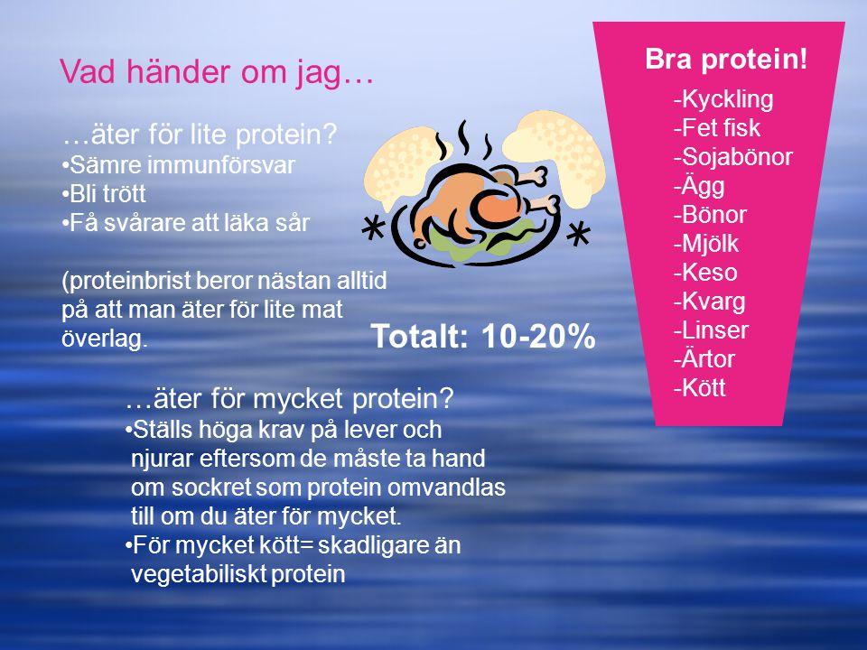 -Kyckling -Fet fisk -Sojabönor -Ägg -Bönor -Mjölk -Keso -Kvarg -Linser -Ärtor -Kött Bra protein! Vad händer om jag… …äter för lite protein? Sämre immu
