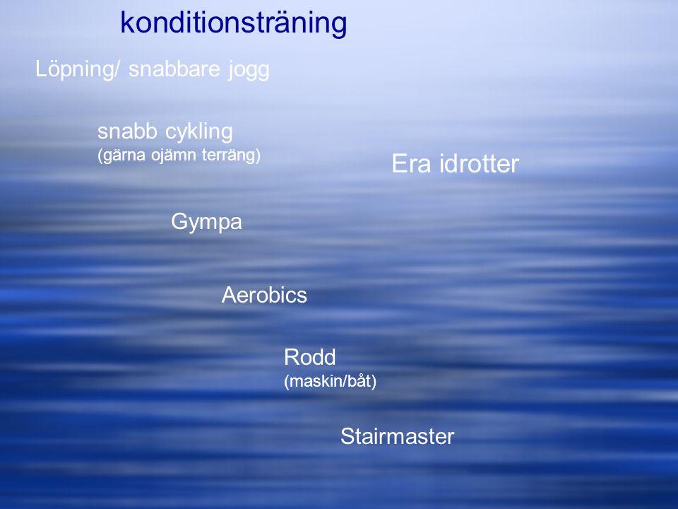 Löpning/ snabbare jogg snabb cykling (gärna ojämn terräng) Aerobics Gympa Rodd (maskin/båt) Stairmaster Era idrotter konditionsträning