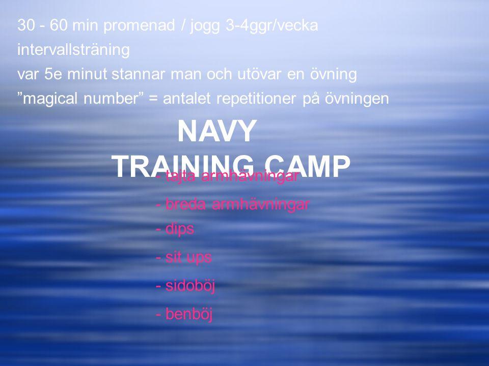 """NAVY TRAINING CAMP 30 - 60 min promenad / jogg 3-4ggr/vecka intervallsträning var 5e minut stannar man och utövar en övning """"magical number"""" = antalet"""