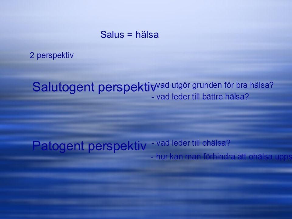 Salus = hälsa Salutogent perspektiv 2 perspektiv Patogent perspektiv - vad utgör grunden för bra hälsa? - vad leder till bättre hälsa? - vad leder til