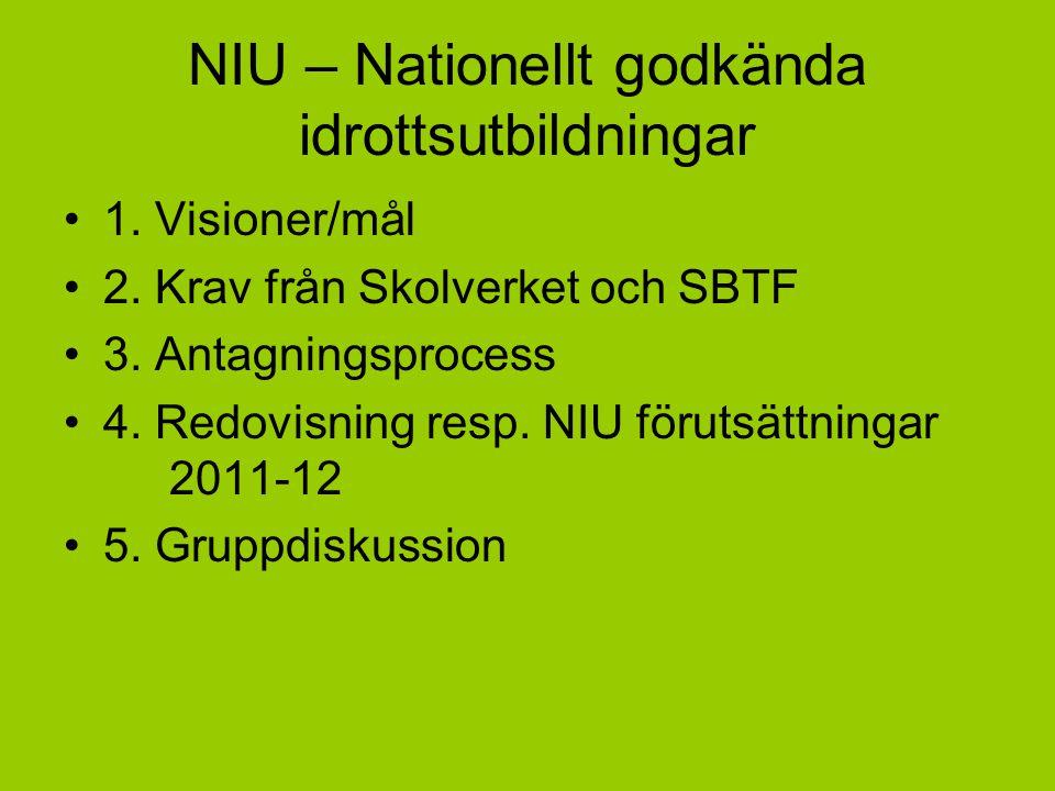 NIU – Nationellt godkända idrottsutbildningar 1. Visioner/mål 2. Krav från Skolverket och SBTF 3. Antagningsprocess 4. Redovisning resp. NIU förutsätt