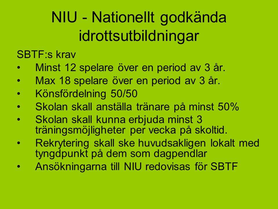 NIU - Nationellt godkända idrottsutbildningar SBTF:s krav Minst 12 spelare över en period av 3 år. Max 18 spelare över en period av 3 år. Könsfördelni