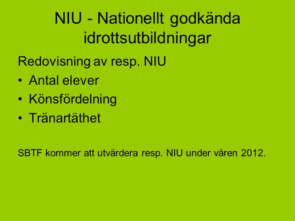 NIU - Nationellt godkända idrottsutbildningar Redovisning av resp. NIU Antal elever Könsfördelning Tränartäthet SBTF kommer att utvärdera resp. NIU un