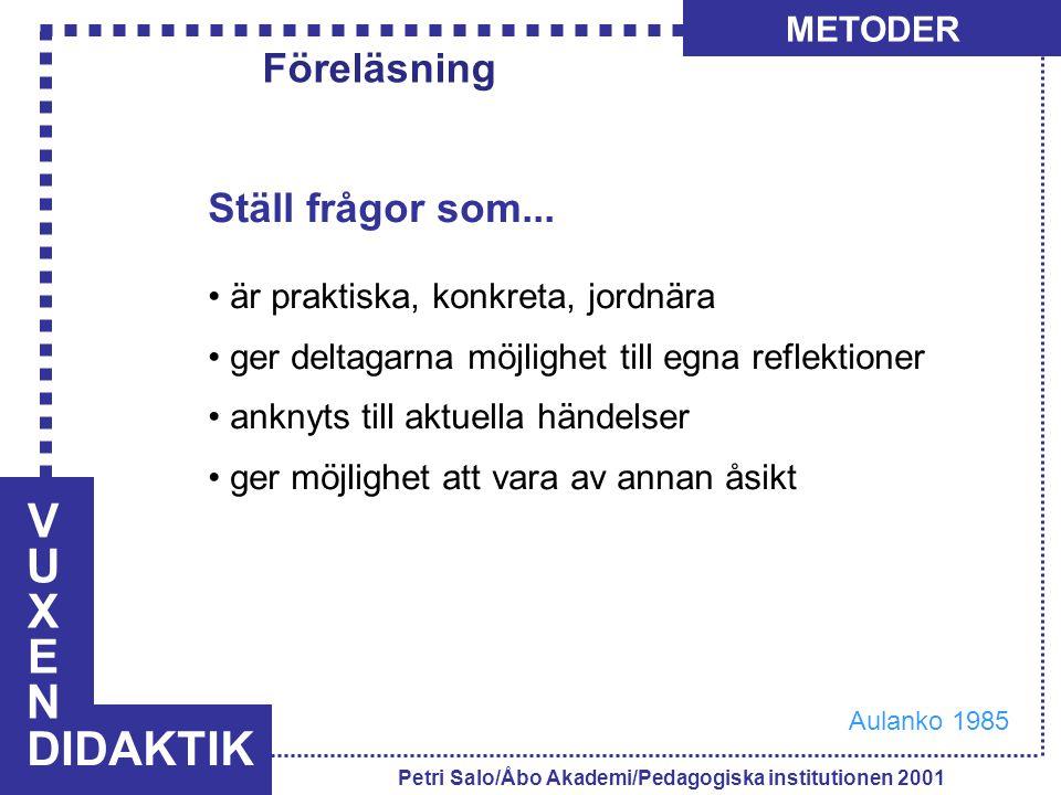VUXENVUXEN DIDAKTIK METODER Petri Salo/Åbo Akademi/Pedagogiska institutionen 2001 Ställ frågor som... är praktiska, konkreta, jordnära ger deltagarna