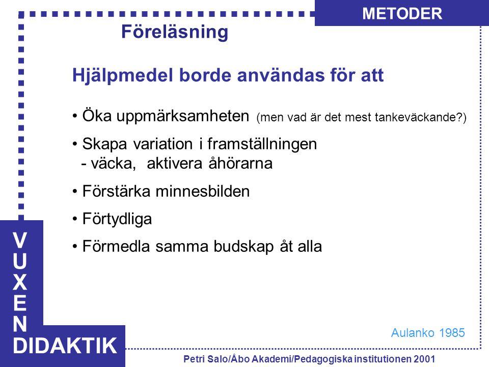 VUXENVUXEN DIDAKTIK METODER Petri Salo/Åbo Akademi/Pedagogiska institutionen 2001 Hjälpmedel borde användas för att Öka uppmärksamheten (men vad är de