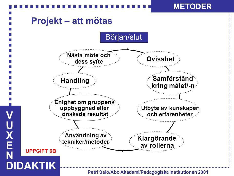 VUXENVUXEN DIDAKTIK METODER Petri Salo/Åbo Akademi/Pedagogiska institutionen 2001 Projekt – att mötas Början/slut Ovisshet Samförstånd kring målet/-n