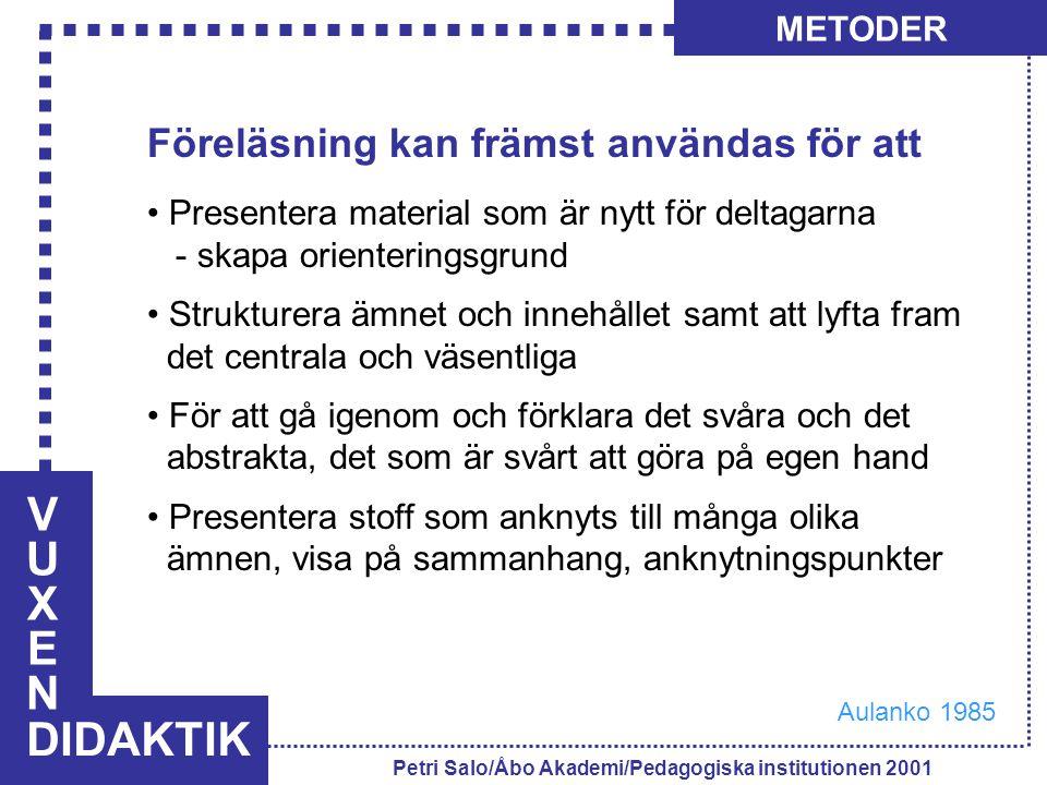 VUXENVUXEN DIDAKTIK METODER Petri Salo/Åbo Akademi/Pedagogiska institutionen 2001 Föreläsning kan främst användas för att Presentera material som är n
